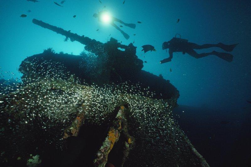 Divers explore the USS President Coolidge's forward guntu