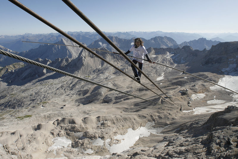 Tightrope Artist Freddy Nock Performs At Zugspitze Mountain