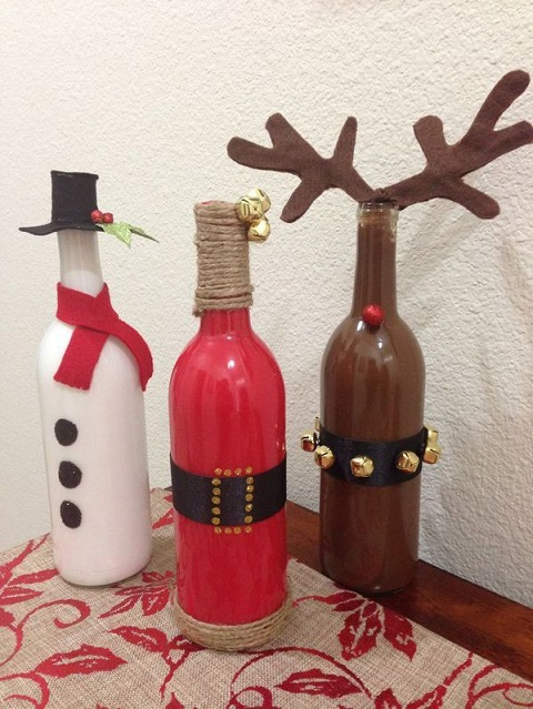 20 ideas f ciles y econ micas para decorar tu casa estas - Botellas de vino decoradas para navidad ...