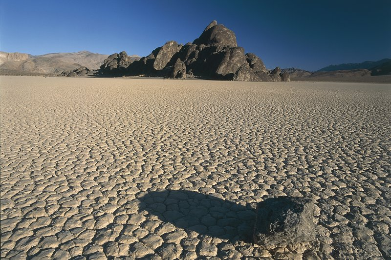 USA, California, Death Vallery, Death Valley National Park. Racetrack Playa, octagonal and pentagonal shaped mud tiles