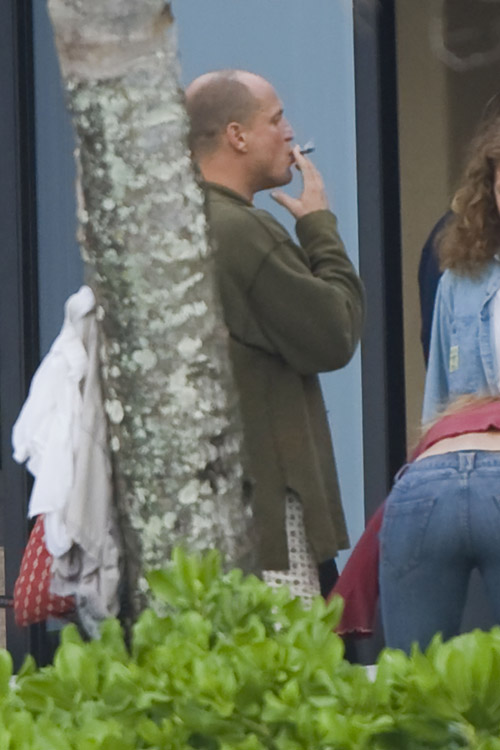 Woody Harrelson celebrates Superbowl Sunday with a smoke