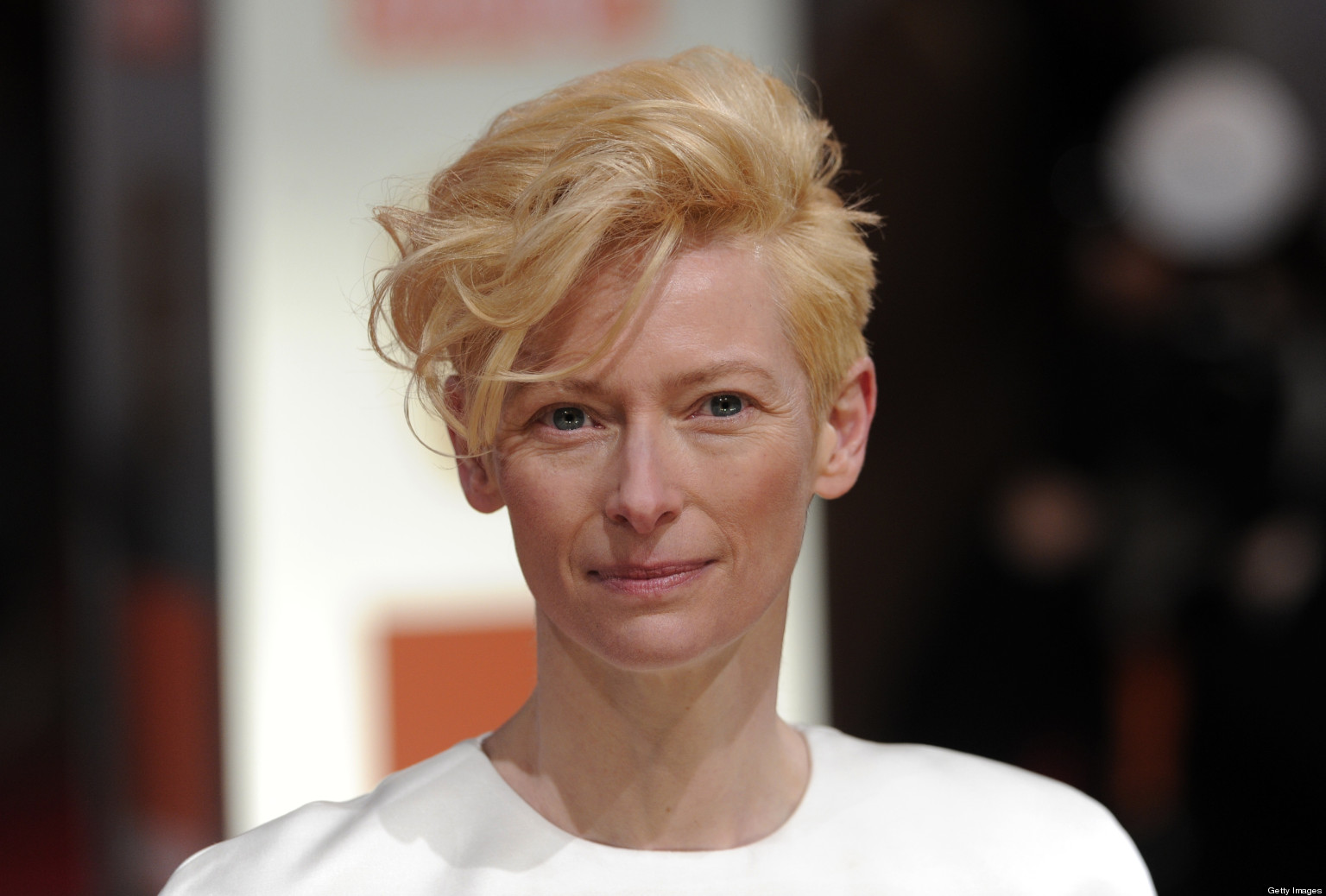 British actress Tilda Swinton poses on t