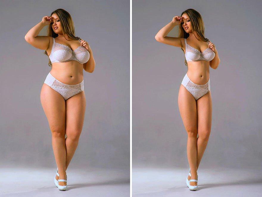 Artista del photoshop muestra 10 famosas sin sobrepeso