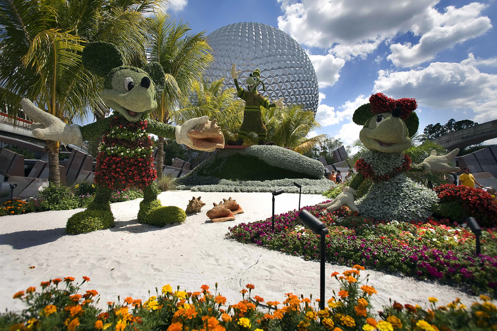Disney character topiaries are on displa