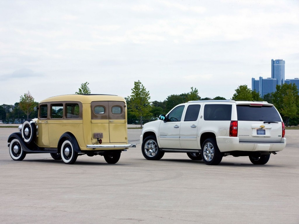 1936 Chevrolet Suburban (left) and 2010 Chevrolet Suburban 75th