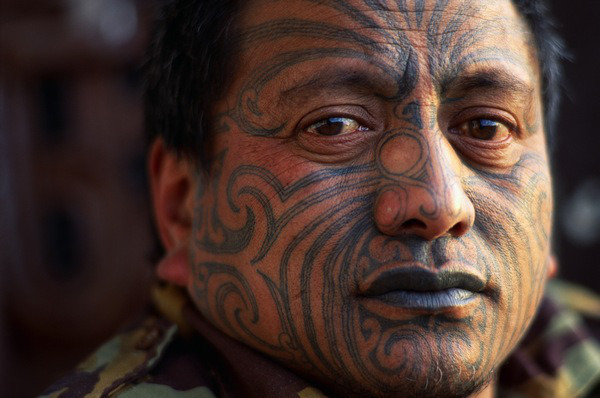 Maori Activist Tame Iti with Traditional Moko Tattoo