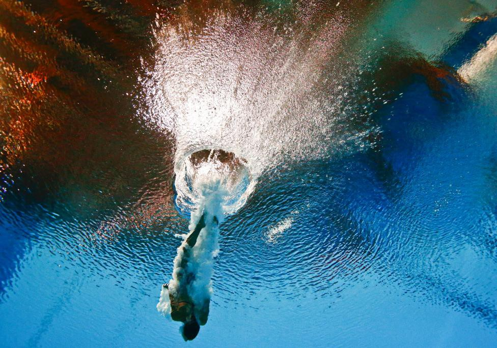 Cagnotto of Italy is seen underwater during the women's 3m springboard semi final at the Aquatics World Championships in Kazan