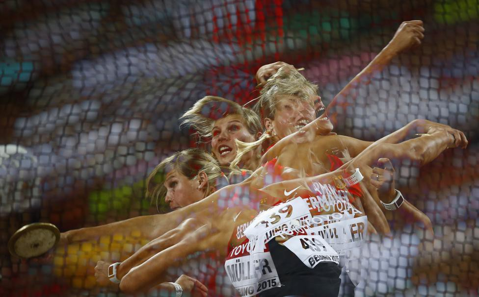 Mueller of Germany competes to win bronze in women's discus throw final at 15th IAAF World Championships in Beijing