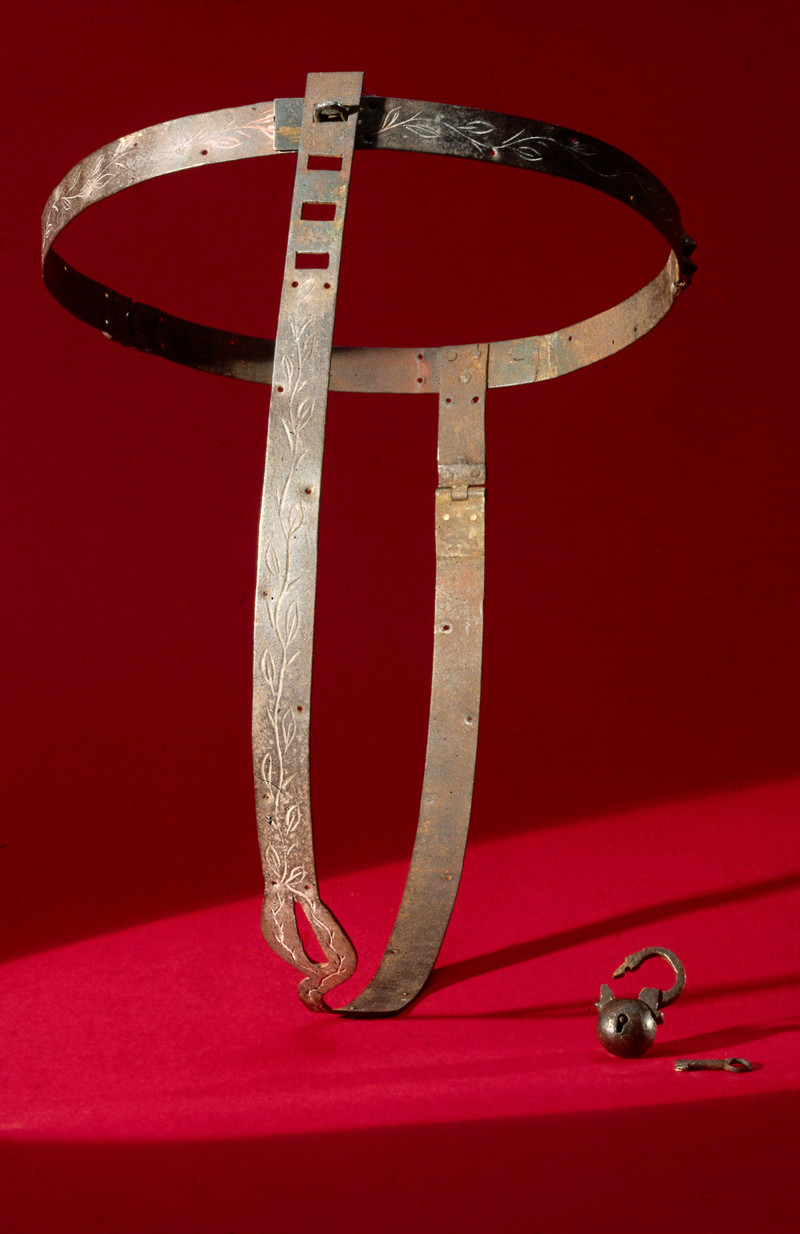 Medieval chastity belt with padlock.