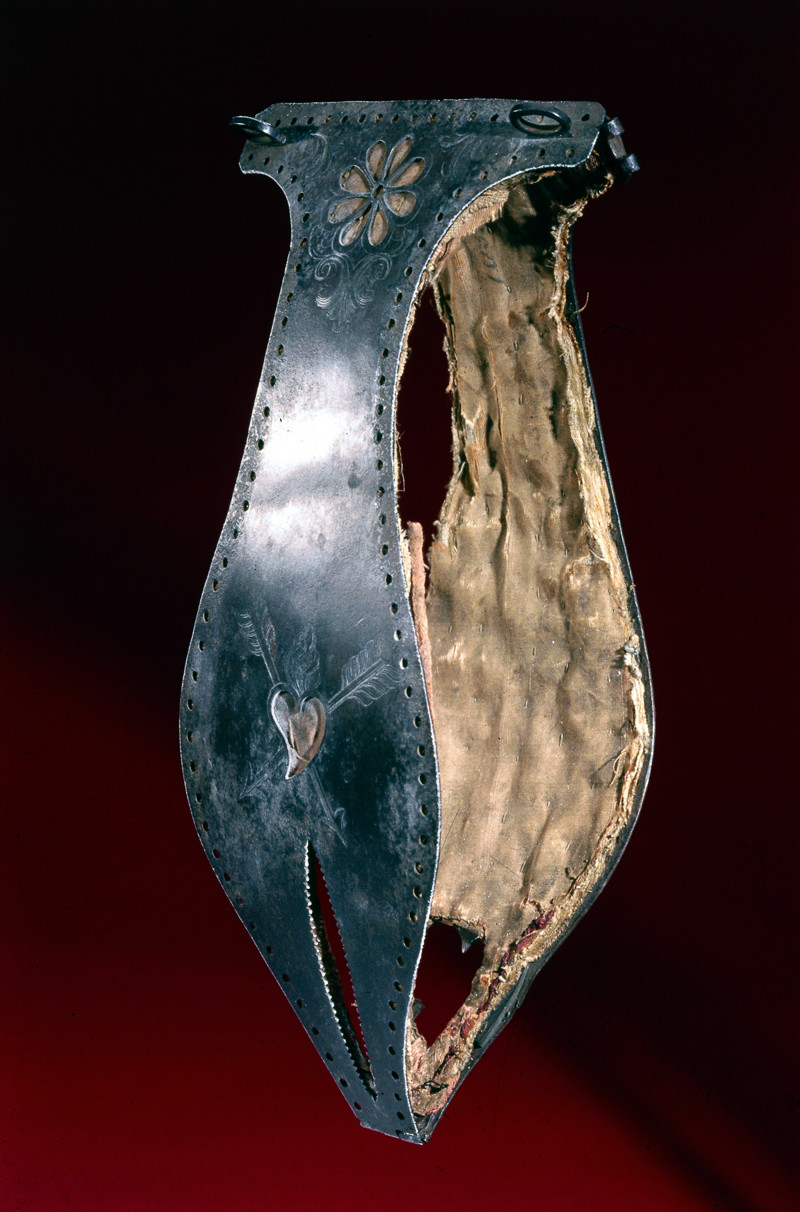 Iron chastity belt lined with silk, possibly 16th century.