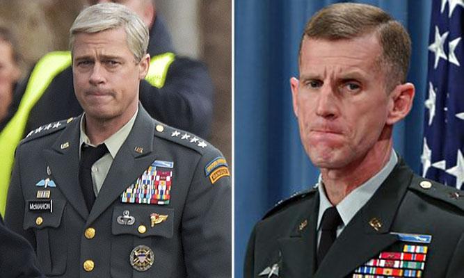 Brad Pitt (left) and Stanley McChrystal