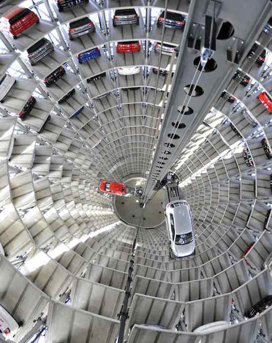 Volkswagen Golf VI are stored at the 'CarTowers' in the theme park Autostadt next to the Volkswagen plant in Wolfsburg