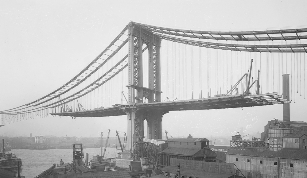 Manhattan Suspension Bridge under Construction as viewed from Brooklyn