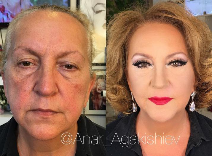 Antes y después. Una vez al mes, Anar Agakishiev pone en práctica todos sus conocimientos y trucos como estilista profesional, para lograr rejuvenecer a sus