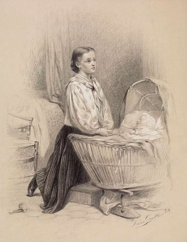 463px-leon-emile_caille_-_young_woman_praying_beside_babys_cradle_-_walters_371402-850x1101-2