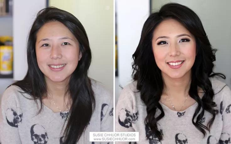 mujeres asiaticas antes y despues del maquillaje